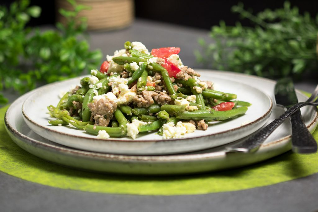 Grüne Bohnen-Salat mit Hackfleisch