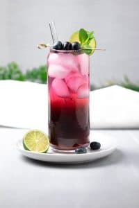 Low Carb Sparkling Blueberry Ice tea