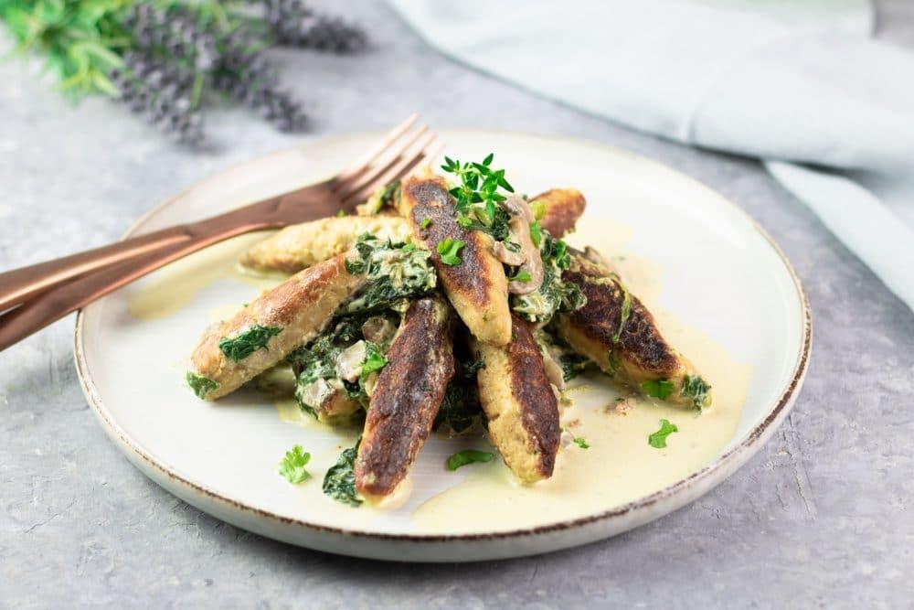 Low Carb Schupfnudeln mit Pilzen und Spinat