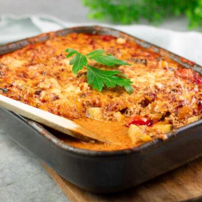 Der Gemüse-Hack-Auflauf ist ein leckeres Low Carb Hauptgericht ohne Zucker, ohne Mehl und ohne Kohlenhydrate!