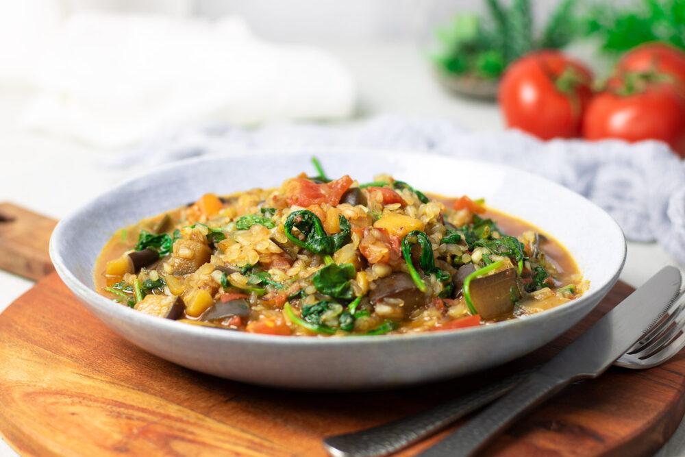 Auberginen-Reis-Pfanne mit wenig Kohlenhydraten