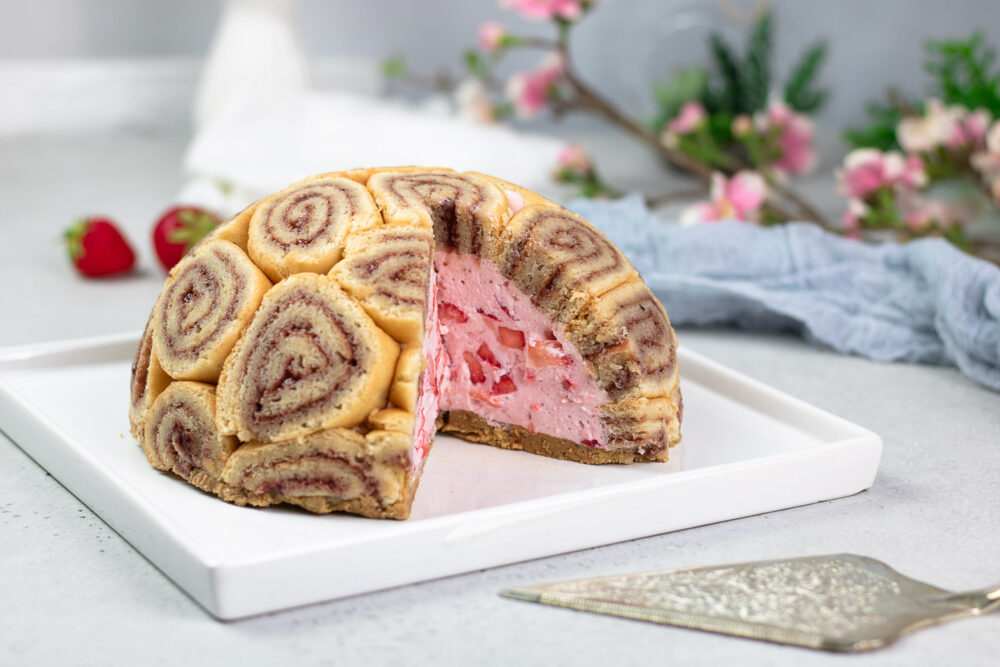 Erdbeer-Charlotte ohne Zucker und ohne Mehl