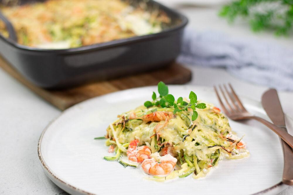 Zucchini-Auflauf mit Garnelen