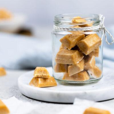 Leckere Karamellbonbons ohne Zucker.